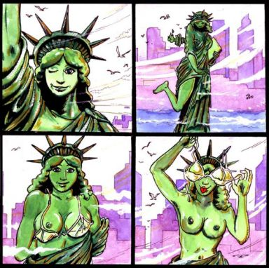 lady justice kissing statue of liberty The seven deadly sins merlin